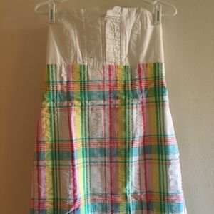 Lilly Pulitzer seersucker strapless plaid in 8
